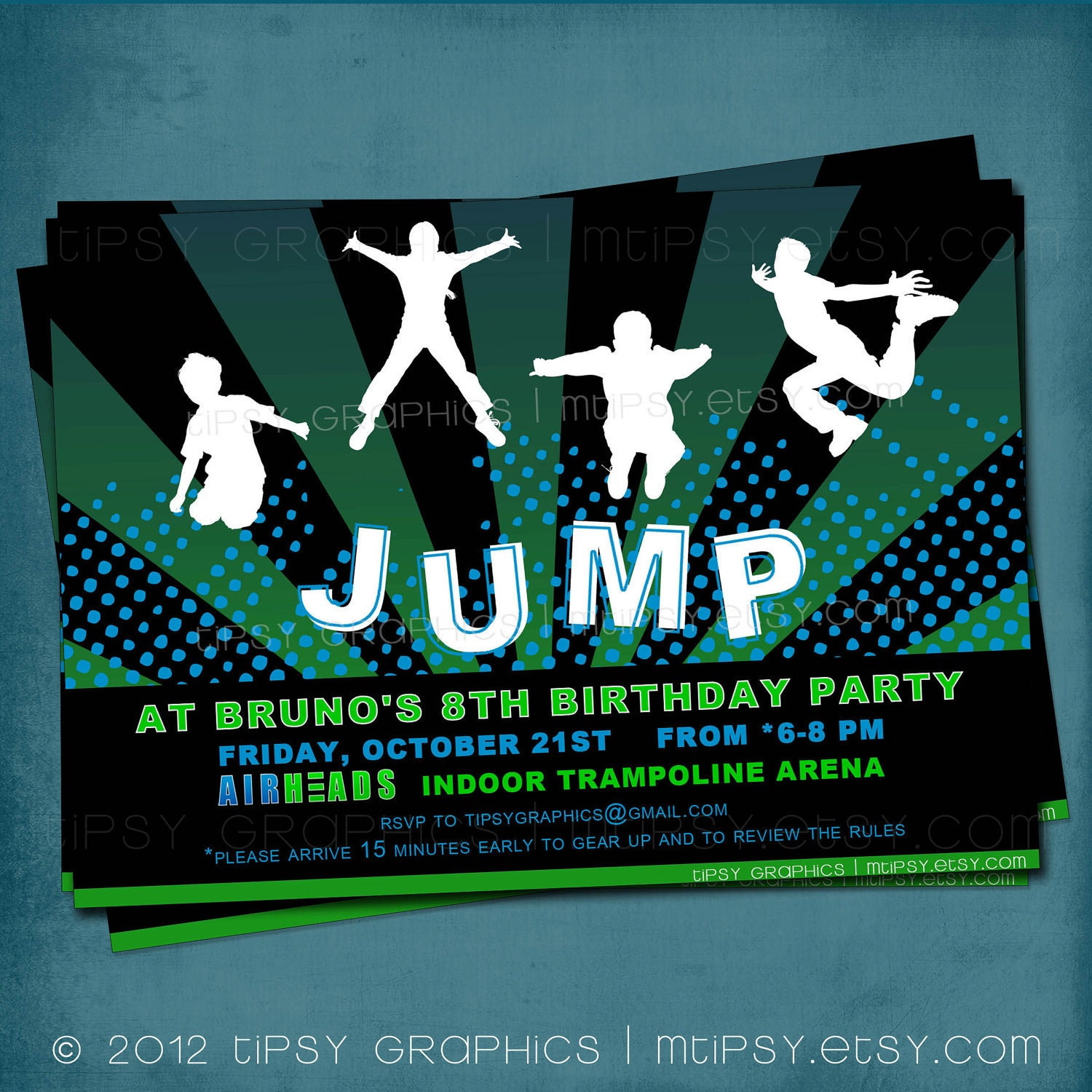 Trampoline Party Invitations: Jump Trampoline Or Bounce House Birthday Party Invite For Big