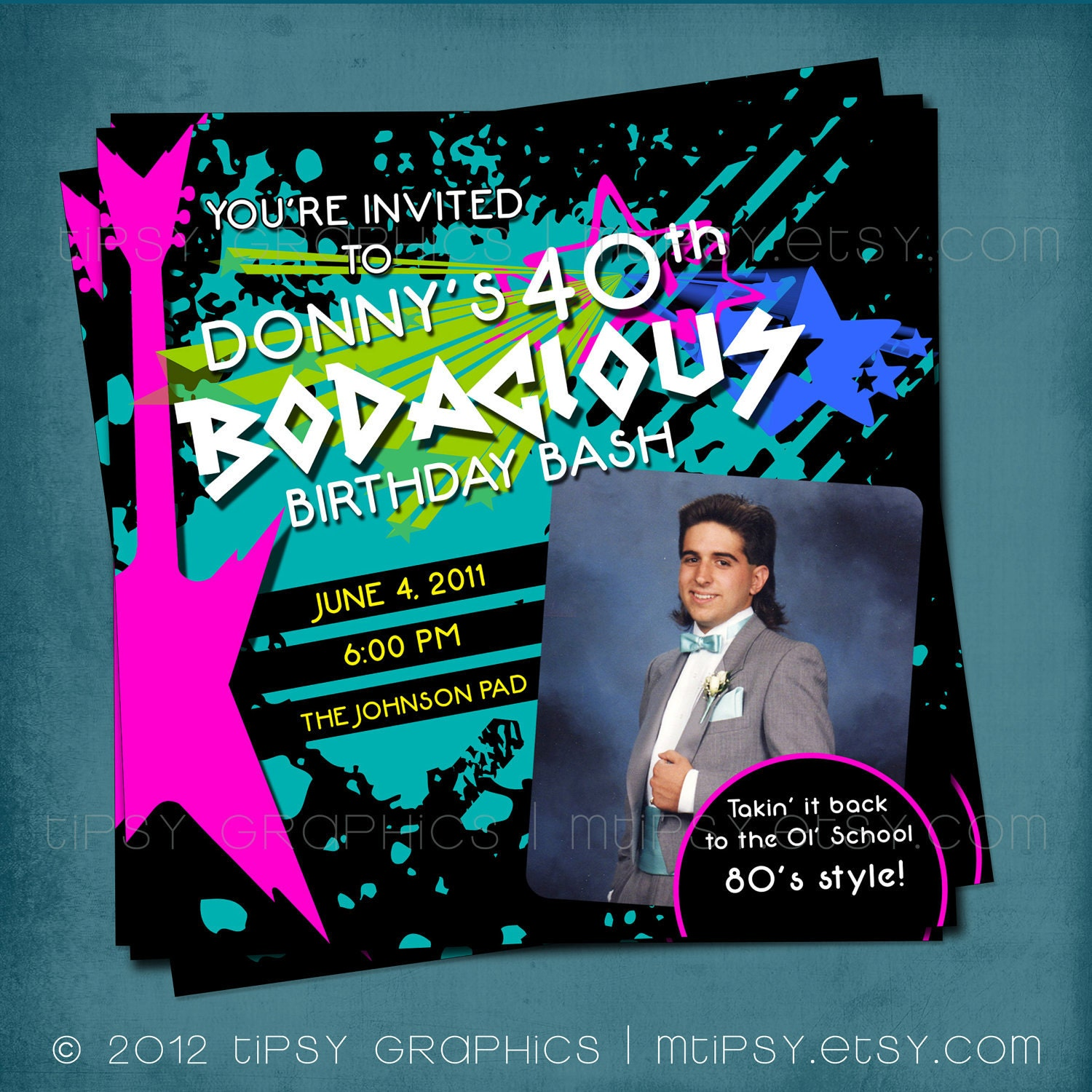 Bodacious Birthday Bash Totally Awesome 80s Party Invite.