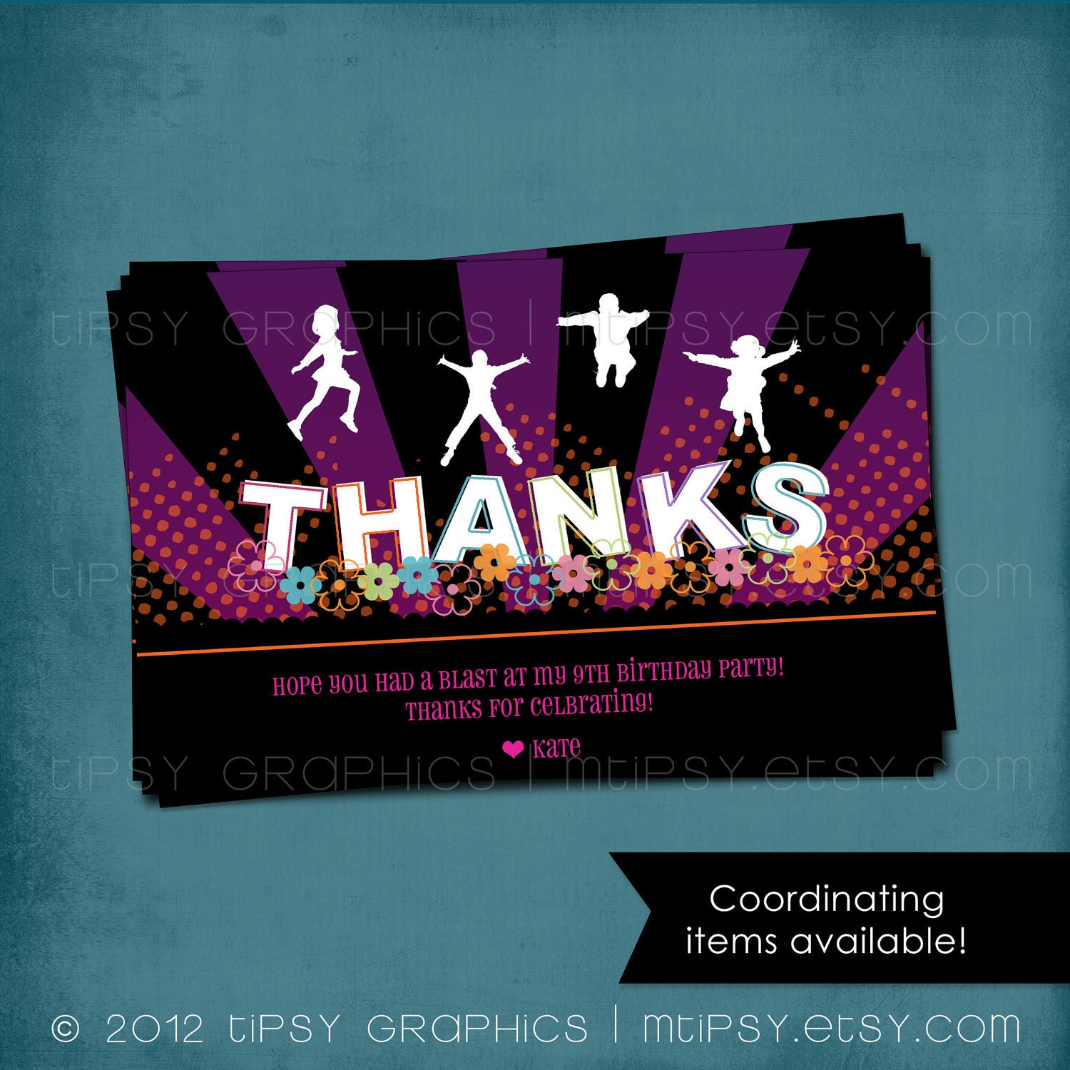 thank you note jump trampoline or bounce house birthday party