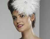 Wedding Veil Fascinator - Large Round Feather Pin - ready to ship