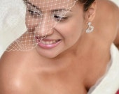 Wedding Veil - Full Birdcage Veil made with French Netting - White, Ivory, Champagne, Pink, Blush, Black, Silver, Gold - made to order