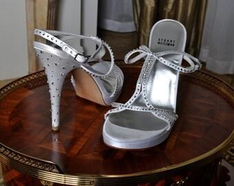 Holiday Sale! Wedding Shoes - Stuart Weitzman Ivory Bridal Heels with Swarovski Crystals - Size 9 -