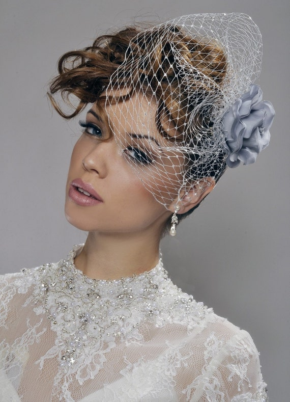 Wedding Birdcage Veil - Handmade Silver, White, Ivory, or Champagne Birdcage with Rose and Swarowski Crystals - made to order