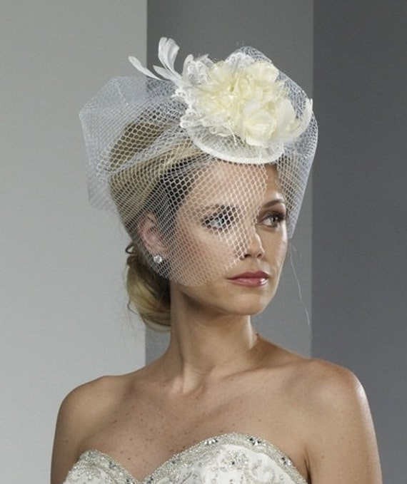 Wedding Veil - Bridal Birdcage Hat - Flowers, Lace and Feathers ...