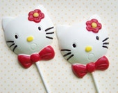 Chocolate Lollipops - Hello Kitty  Chocolate Lollipops - White Chocolate Candy Favors