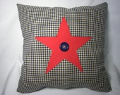 AMERICANA Throw PILLOW  16X16 in. Red Star Blue Gingham