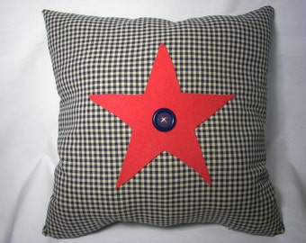AMERICANA Throw PILLOW  COVER 16X16 in. Red Star Blue Gingham