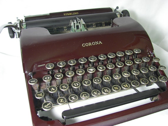 Typewriter Manual  Red L.C. Smith & Corona Vintage