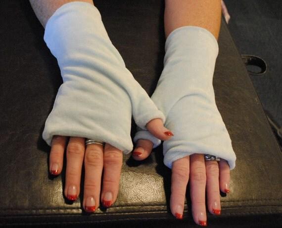 Light Blue OBV Fingerless Gloves