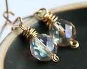 SALE 15% OFF (was 30.50, now 25.93) Czech glass earrings, 14k gold filled, bead earrings, light pink, simple, Mimi Michele Jewelry