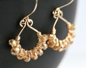 Handmade gold earrings, mystic champagne quartz, 14k gold filled, orange, yellow, wire wrapped jewelry, Mimi Michele Jewelry