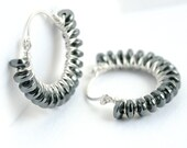 Silver beaded hoops, hematite earrings, sterling silver earrings, gunmetal grey, wire wrapped hoop earrings