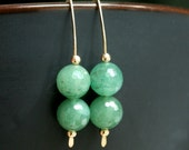 Handmade earrings, aventurine, green, 14k gold filled, marquise style ear wires