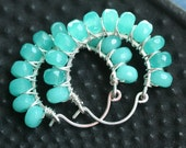 Handmade beaded hoop earrings, aqua Czech glass and sterling silver, wire wrapped, teal, Mimi Michele Jewelry