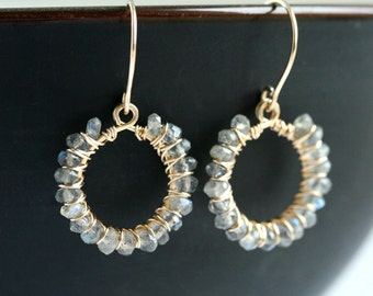 SALE 15% OFF (was 47.50, now 40.38), Labradorite beaded earrings, 14k gold filled, wire wrapped, drop hoops, grey, dangle hoops, drop
