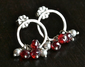 Red beaded cluster post earrings, Czech glass, Swarovski pearl, sterling silver, circle, wire wrapped post earrings, Mimi Michele Jewelry