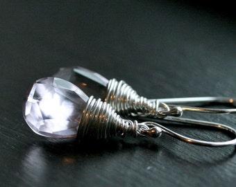 SALE 15% OFF (was 46.50 now 39.53), pink amethyst earrings, lavender, sterling silver, wire wrapped, gemstone drop, dangle