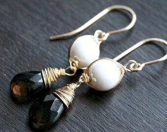 Smokey quartz earrings, long drop earrings, 14k gold filled, Czech glass, white, brown, dangle earrings, Mimi Michele Jewelry