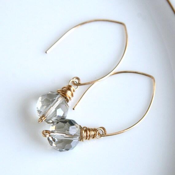 Handmade gold earrings, long dangle earrings, marquise shaped earwires, wire wrapped bead earrings, Mimi Michele Jewelry