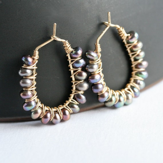 Handmade pearl hoops, peacock, 14k gold filled, wire wrapped hoops, pearl earrings, wire wrapped jewelry, Mimi Michele Jewelry