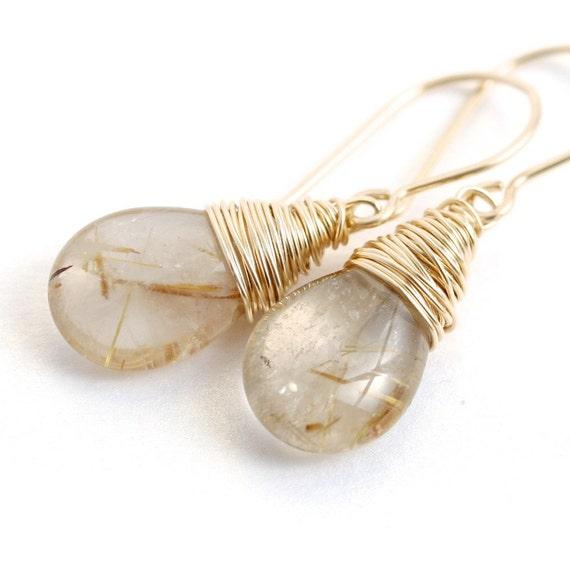 Handmade gold rutilated quartz drop earrings, 14k gold filled, teardrop, wire wrapped, gold earrings, Mimi Michele Jewelry