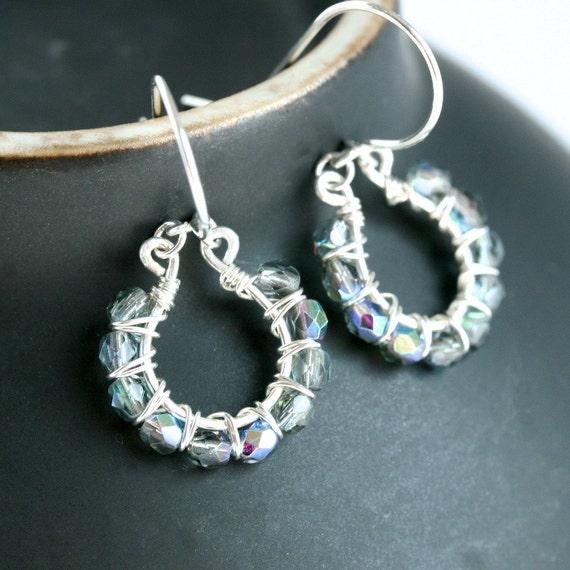 15% OFF price as marked (was 35.50 now 30.18) Sterling silver earrings, Czech glass earrings, wire wrapped hoops, beaded earrings