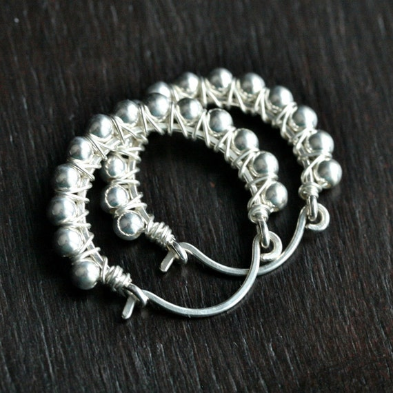 Handmade sterling silver hoops, wire wrapped hoops, silver earrings, beaded hoops, hoop earrings, Mimi Michele Jewelry