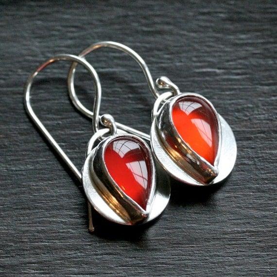 Handmade carnelian earrings, orange earrings, cabochon, silver bezel set, teardrop, metalwork