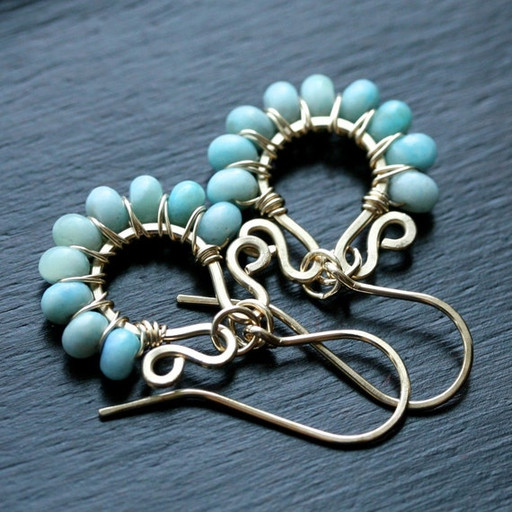 Handmade dangle earrings, 14k gold filled, turquoise, jasper, beaded hoops, wire wrapped, blue, aqua, Mimi Michele Jewelry