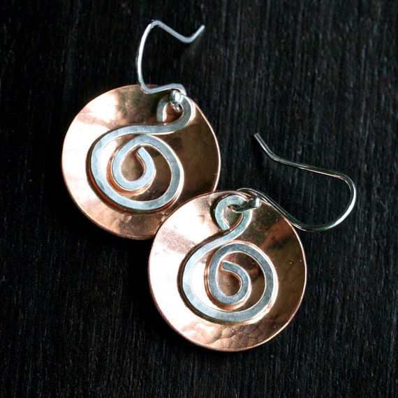 Handmade copper dangle earrings, sterling silver, mixed metal, swirl earrings, disc, disk, Mimi Michele Jewelry
