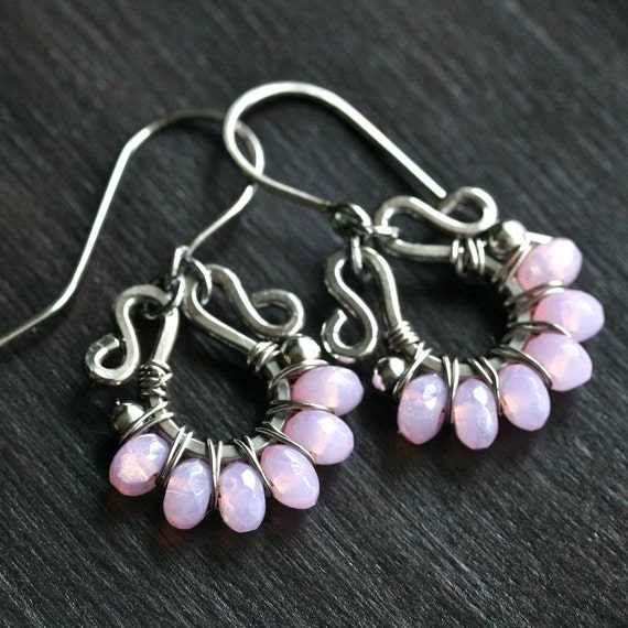 Handmade pink beaded dangle earrings, Czech glass, pink earrings, oxidized sterling silver earrings