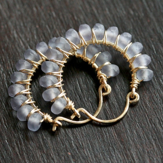 Handmade wire wrapped hoop, matte grey Czech glass, 14k gold filled earrings, beaded hoops, grey earrings, hoop earrings