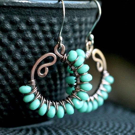 Handmade beaded dangle earrings, green Czech glass, oxidized, copper earrings, sterling silver ear wires, wire wrapped jewelry