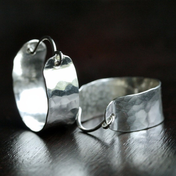 Handmade sterling silver hoops, hammered silver earrings, small silver hoops, hoop earrings, hammered hoops