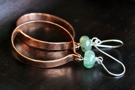 Handmade copper dangle hoops, hammered copper earrings, large hoops, green jasper, sterling silver, Mimi Michele Jewelry