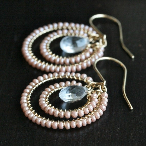 Handmade pink earrings, seed bead, beaded earrings, wire wrapped, hoop earrings, 14k gold filled, Mimi Michele Jewelry