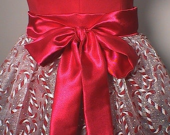 Candy Cane Shimmer Organza Christmas Hostess Half Apron