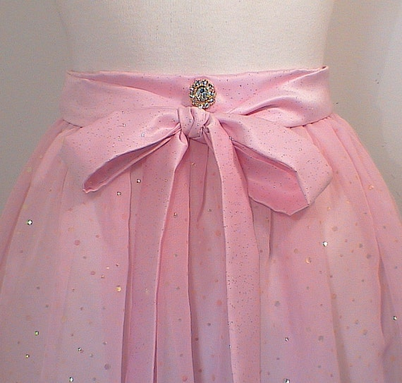 Princess Pink Apron Chiffon Sequin Hostess half Apron Womens Last One