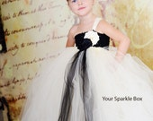 Ivory and Black wedding flower girl dress with matching headband