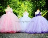 White Hydrangea Tutu Dress for pageants weddings birthdays or dress up 12m 18m 2t 3t 4t