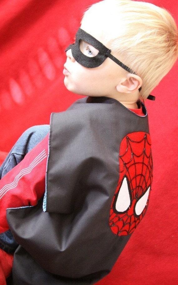 Superhero reversible childrens cape with mask Batman Spiderman
