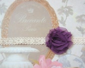 SHABBY PLUM chiffon rosette on ecru cream lace elastic headband