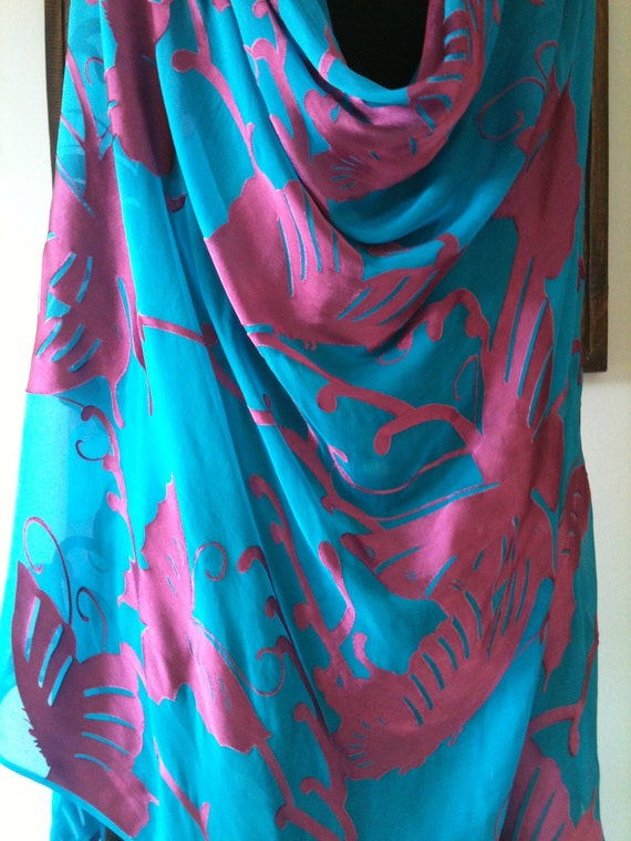 Blue Pink Silk Devore/Burnout Fabric or Belly Dance Veil