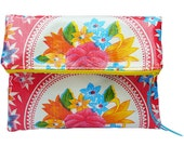 Sophia Fold Over Clutch in Bright Floral Print