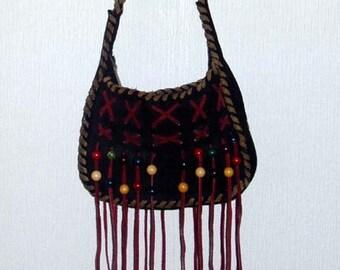 Vintage 1970's Black Suede Shoulder Bag with wooden beads