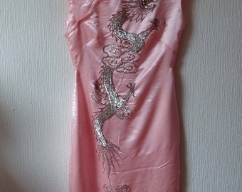 Vintage Chinese Pink Silk Dress  adorned with Sequin Dragon