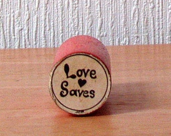 1970s Groovy LOVE heart SAVES Rubber Stamp