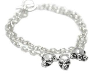 Silver Skull Bracelet, Mens Bracelet, Silver Bracelet, Costume Jewelry, Silver Jewelry, Gothic Jewelry
