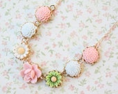 Pastel Floral Necklace-14K Gold filled chain