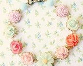 Pastel Flower Bracelet, Flower Girl Shabby Chic Bracelet, Flower Girl Bracelet